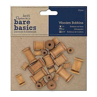 Papermania Bare Basics Wooden Bobbins (22pcs) (PMA 174603)