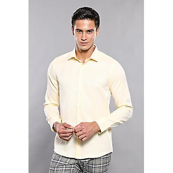 Gesstrekt patroon geel casual shirt | wessi wessi
