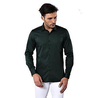 Green cotton satin shirt | wessi