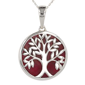 ADEN 925 Sterling Silver Coral Tree of Life Round Shape Pendentif Collier (id 3990)