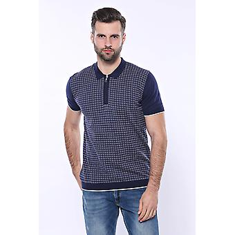 Navy plaid zippered knitted polo t-shirt | wessi