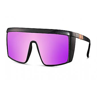 Sunglasses unisex rectangular cat. 3 matt black/violet