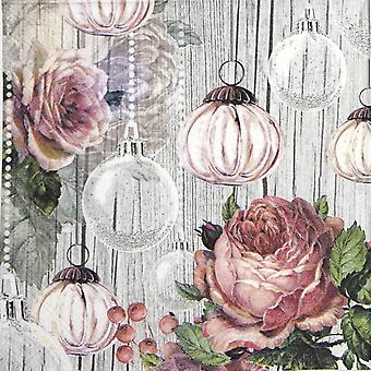 Ambiente 3 Ply Paper Napkins, Roses And Baubles