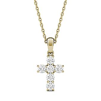 Para sempre um Moissanite amarelo ouro Cruz pingente de colar, 0.36cttw o orvalho (D-E-F)