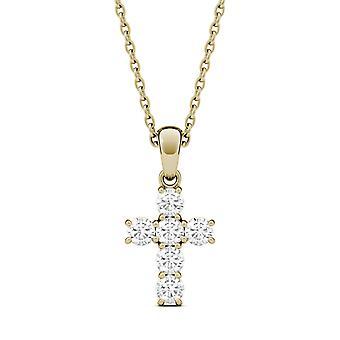 Jamais une Moissanite jaune or croix pendentif, 0.36cttw de rosée (D-E-F)
