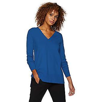 Lark & Ro Women's Long Sleeve Oversized Double V-Neck Sweater, cobalt, Medium