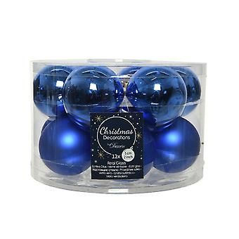 12 5cm Royal Blue Glass Christmas Tree Bauble Decorations
