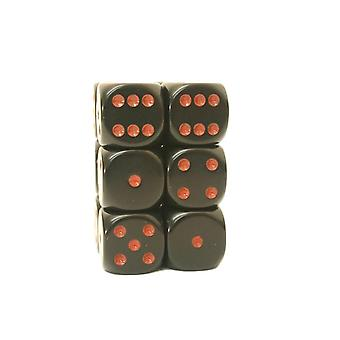 Chessex Opaque 16mm D6 x 12 - Black/red