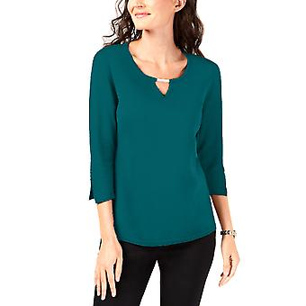 JM Collection   Buttoned-Cuff Keyhole Top