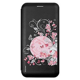 Caso para Xiaomi Redmi 9 flores y mariposas de patrón negro