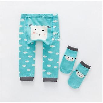 Baby Boy / Girl Cartoon Pp Pants With Sox, Infant Toddler Animal Cotton Elastic