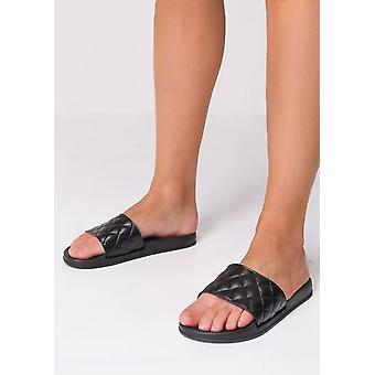 Quilted Faux Leather Sliders Black