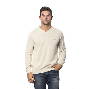 Roberto Cavalli Sport Beige V-Neck Long Sleeves Sweater