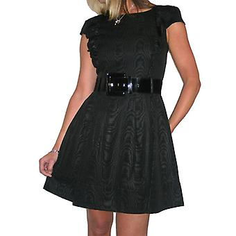 Women's Mini Skater Dress Ladies Flared Short Sleeve Belted Fully Lined Evening Cocktail Party Dress Size 8