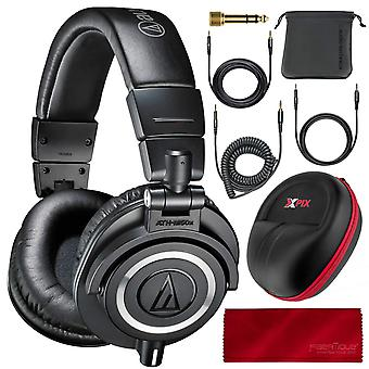 Audio technica ath-m50x monitor headphones (black) professional kit, with carrying case, fibertique cleaning cloth and 3 cables ? for d
