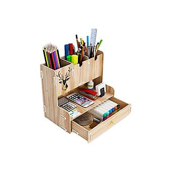 Desktop Pen Holder Organizer Book Eraser Sharpener Wooden Pen, Calculator