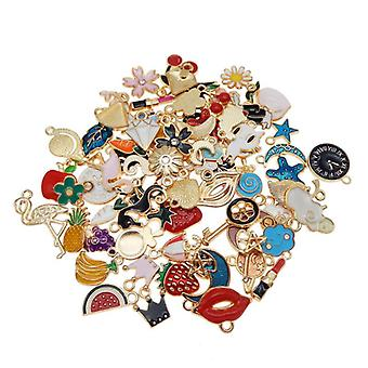 60pcs Enamel Charms Random Mixed Animal, Flower, Fruit Moon Alloy Necklace