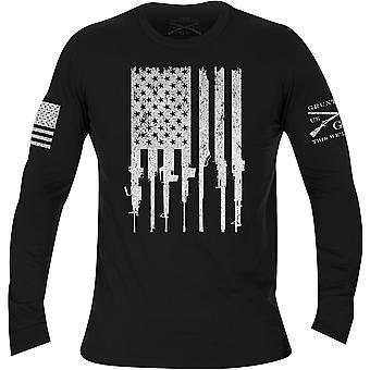 Grunt stil Rifle Flagg Langermet T-skjorte - Svart