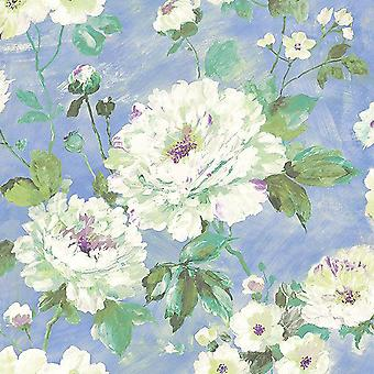 FIORE BLUE FLORAL WALLPAPER