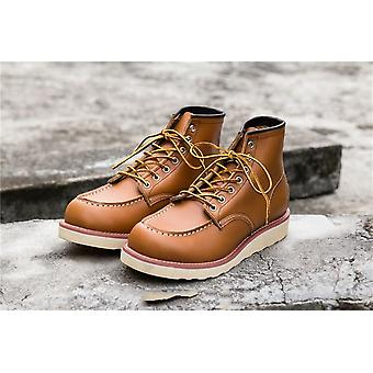 Goodyear-welted Vintage Genuine Leather Motorcycle Boots Shoes