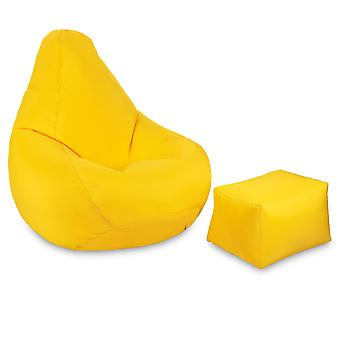 Yellow Garden Bean Bag Chair Set Outdoor Indoor Gaming BeanBag Polyester Lounger Seat with Footstool