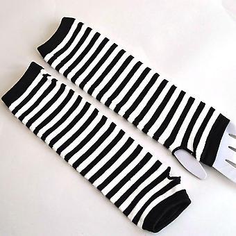Mode gestreiftE Ellenbogen wärmer gestrickt lange Fingerless Handschuhe