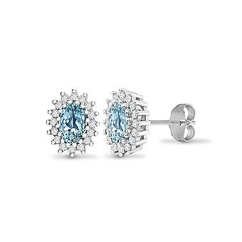 Jewelco Londen 9ct witgoud cluster set ronde H SI 0.25 Ct Diamond en ovale blauwe 1.1 CT Topaz cluster Stud Earrings
