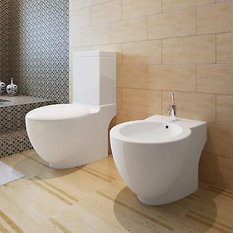 Stand-Toilet/WC+Soft WC Seat+Stand-Bidet Floor Standing white