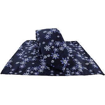 Michelsons of London Vibrant Floral Tie e Pocket Square Set - Blu