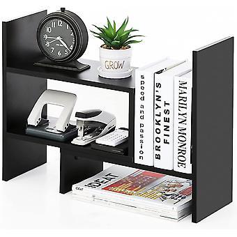 FITUEYES Desk Organiser DIY Adjustable Shelf Wood Black Storage Rack for Office Supplies 68x17x39cm