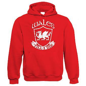Wales ' till I Die Miesten huppari-jalka pallo Rugby Patriotic