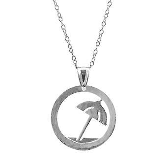 ANCHOR & CREW Beach Parasol Disc Paradise Silver Necklace Pendant