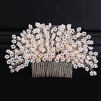 Fashion Headdress Druhna Side Comb For Bride Handmade Pearl Flower Crystal Fashion Headdress Druhna Side Comb For Bride Handmade Pearl Flower Crystal Fashion Headdress Druhna Side Comb For Bride Handmade Pearl Flower Crystal Fashion Head