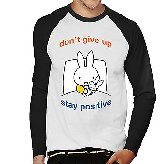 Miffy Dont Give Up Stay Positive Men's Baseball Long Sleeved T-Shirt