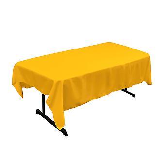 La Lino Poliéster Poplin 60 por mantel rectangular de 84 pulgadas, amarillo oscuro
