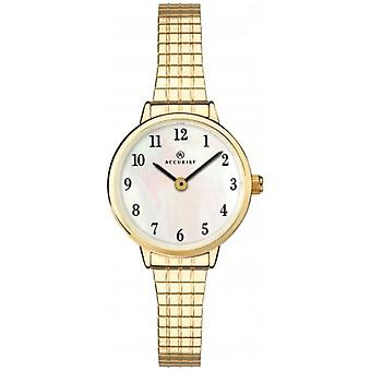 Accurist 8208 Classic White & Gold Stainless Steel Ladies Expanding Watch