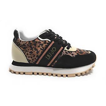 Scarpe Sneaker Running Liu-jo Mod. Wonder In Suede/ Black Fabric/ Leopard Ds21lj02
