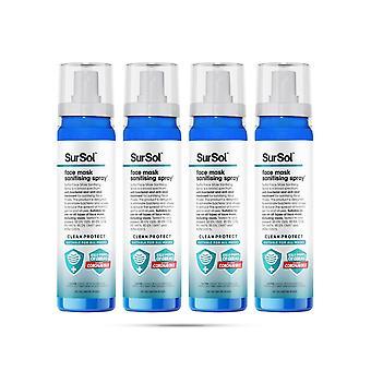 SurSol Face Mask Sanitising Spray, Suitable for all Masks, 100ml, 4pk