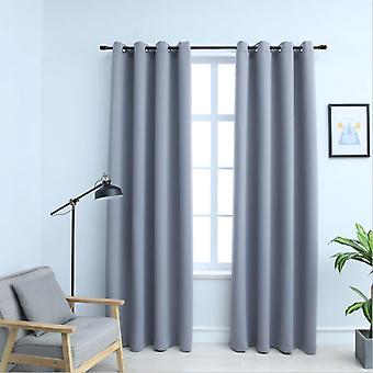 vidaXL Blackout curtains with metal detaches 2 pcs. grey 140x225cm
