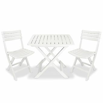 3 piezas plegables Bistro Set Plástico Blanco