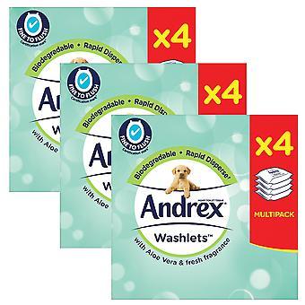 3 x 4 pack washlets doft GRATIS fuktig toalettvävnad spolbara biologiskt nedbrytbara rengöringsservetter