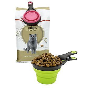 Multifunktionell hopfällbar silikon hund skål matare bärbar husdjur matbehållare mäta kopp sked hundar foder lagringsverktyg