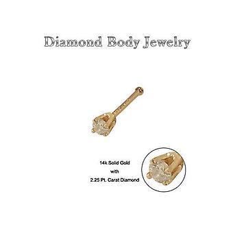 14K الذهب الصلب الأنف العظام مع مسمار الماس حقيقية 20g 8mm