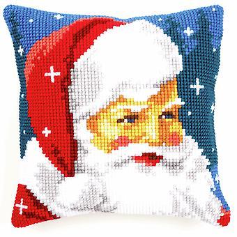Kit de puntada cruzada Vervaco: Cojín: Kind Santa