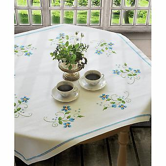 Anchor Cross Stitch Kit: Blue Flowers: Tablecloth