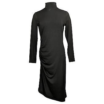 G.I.L.I. lo hizo amar vestido midi de punto ruched de manga larga negro A370665