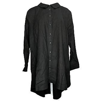 Lisa Rinna Collection Women's Top Plus Button Hi Low Hem Black A368996