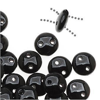 CzechMates Glass 2-Hole Round Flat Lentil Beads 6mm - Jet Black (1 Strand)