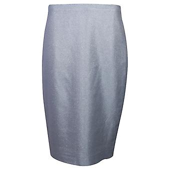 Paola Collection Shimmering Blue Straight Cut Pencil Skirt