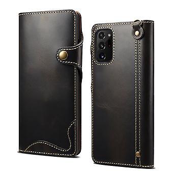 Étui de portefeuille en cuir véritable fente pour carte pour samsung s10 5g noir pc1060